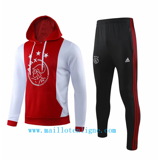 Maillotenligne Survetement Ajax Rouge/Blanc 2019/2020 a Capuche