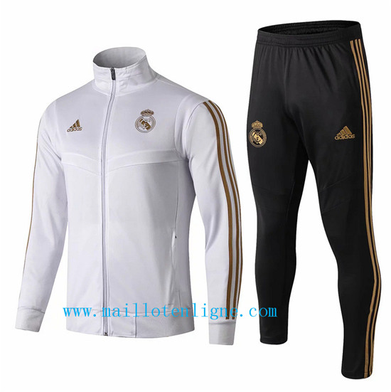 Maillotenligne Veste Survetement Real Madrid Blanc 2019/2020 Col