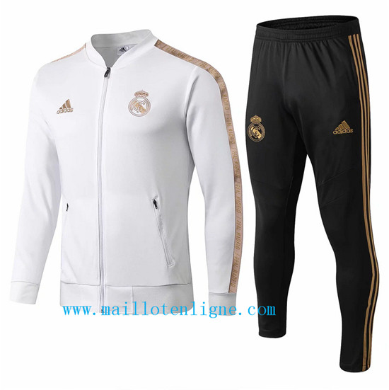 Maillotenligne Veste Survetement Real Madrid Blanc/Jaune 2019/20