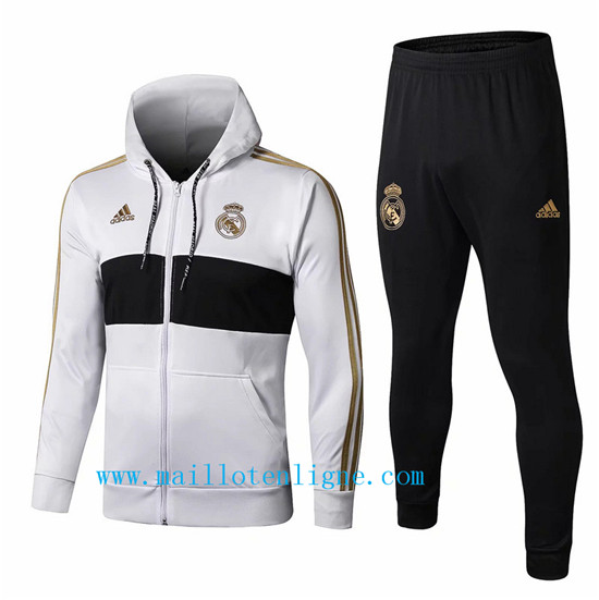 Maillotenligne Veste Survetement Real Madrid Blanc/Noir 2019/202