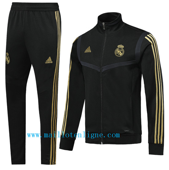 Maillotenligne Veste Survetement Real Madrid Noir 2019/2020 Col