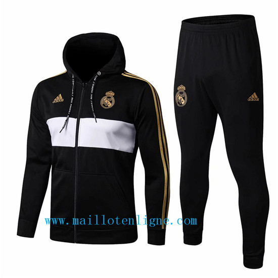 Maillotenligne Veste Survetement Real Madrid Noir/Blanc 2019/202