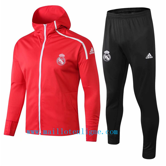 Maillotenligne Veste Survetement Real Madrid Rouge 1819 a Capuch