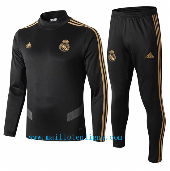Maillotenligne Survetement Real Madrid Noir 2019/2020 Col haut