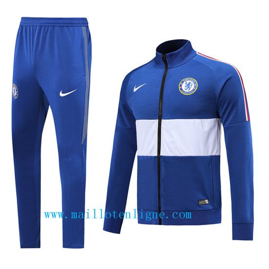 Maillotenligne Veste Survetement Chelsea Bleu/Blanc 2019/2020 Co