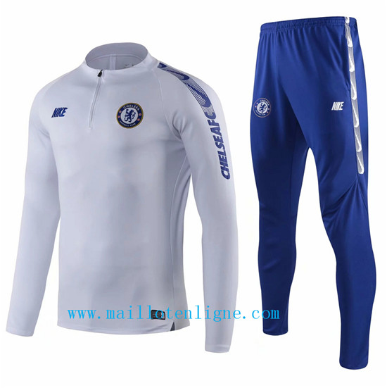 Maillotenligne Survetement Chelsea Blanc + Short Bleu 2019/2020