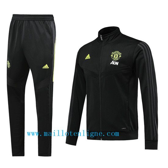Maillotenligne Veste Survetement Manchester United Noir/Jaune 20