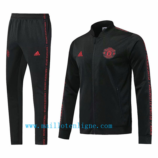Maillotenligne Veste Survetement Manchester United Noir/Rouge 20