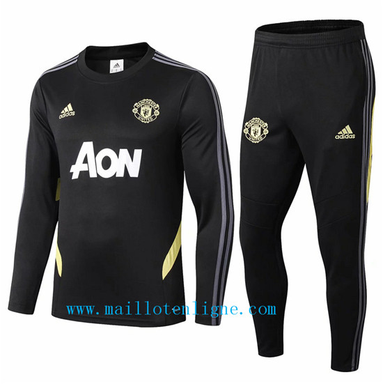 Maillotenligne Survetement Manchester United Noir 2019/2020 Col