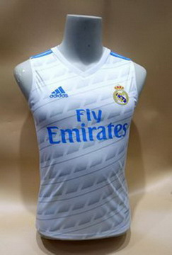 Maillot de Sans Manches Real Madrid Blanc 2017/2018