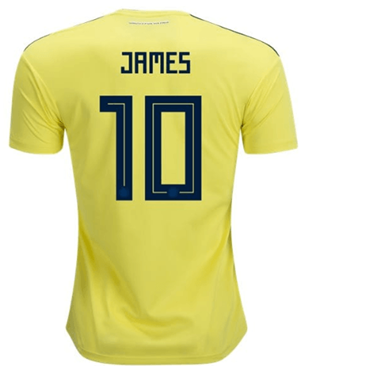 Maillot Colombie 10 James Domicile Coupe du monde 2018