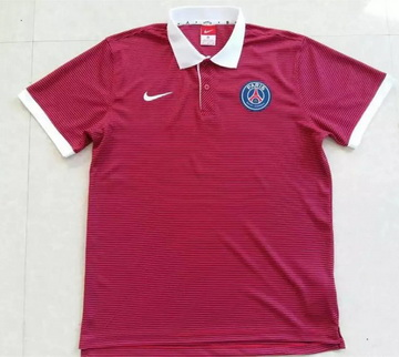 Maillot PSG Polo Rayures Rouges 2016 2017